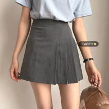 skirt Summer 2021 S,M,L grey Short skirt commute High waist A-line skirt Solid color Type A 18-24 years old Korean version