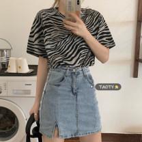 skirt Spring 2021 Average size T-shirt, skirt s, Skirt M, skirt L Short skirt commute High waist A-line skirt Solid color Type A 18-24 years old B133 Button Korean version