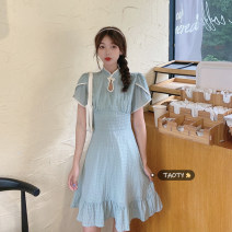 Dress Summer 2021 Long dress, short dress S, M Mid length dress singleton  Short sleeve commute other High waist Solid color A button A-line skirt other Others 18-24 years old Type A Korean version