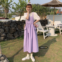 Dress Summer 2021 White, violet, Navy, Berry Pink Average size Mid length dress singleton  Sleeveless commute other Loose waist Solid color Socket A-line skirt other straps 18-24 years old Type A Korean version Pocket, lace up