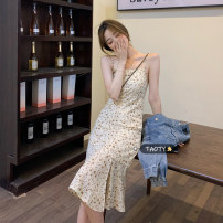 Dress Summer 2021 Oil painting Platycodon grandiflorum, silky and black S, M Mid length dress singleton  Sleeveless commute other High waist Broken flowers Socket A-line skirt routine camisole 18-24 years old Type A Korean version