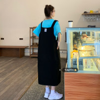 Dress Summer 2021 White T-shirt piece, blue T-shirt piece, black strap skirt piece, Khaki Skirt piece Average size longuette singleton  Sleeveless commute other Loose waist Solid color Socket other other straps 18-24 years old Type H Korean version Sticking cloth polyester fiber