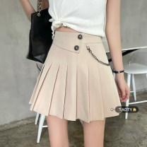 skirt Summer 2021 S,M,L Khaki, black, beige Short skirt commute High waist Pleated skirt Solid color Type A 18-24 years old Chain, button Korean version