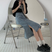 skirt Summer 2021 S,M,L,XL blue Mid length dress commute High waist Denim skirt Solid color Type A 18-24 years old Pocket, button, zipper Korean version
