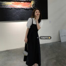 Dress Summer 2021 The coat is white and the dress is black Average size (80-130 kg) longuette singleton  Sleeveless commute square neck High waist Solid color Socket A-line skirt other camisole 18-24 years old Type A Korean version Frenulum