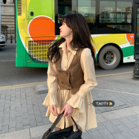 Dress Spring 2021 One piece vest, one piece dress S,M,L Middle-skirt singleton  Long sleeves commute Polo collar High waist Solid color Socket A-line skirt pagoda sleeve Others 18-24 years old Type A Korean version