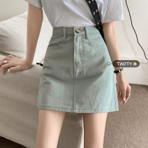 skirt Summer 2021 S,M,L Mint Milk Green Short skirt commute High waist A-line skirt Solid color Type A 18-24 years old Button Korean version