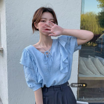 shirt Light blue, white Average size Summer 2021 other 30% and below Short sleeve commute Regular V-neck Socket puff sleeve Solid color 18-24 years old Straight cylinder Korean version Lace, lace