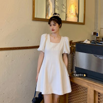 Dress Summer 2021 White, blue, black S, M Short skirt singleton  Short sleeve commute square neck High waist Solid color zipper A-line skirt puff sleeve Others 18-24 years old Type A Korean version Open back, zipper