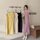 Dress Summer 2021 Apricot, pink, yellow, black Average size longuette singleton  Sleeveless commute Crew neck High waist Solid color Socket A-line skirt other camisole 18-24 years old Type A Korean version