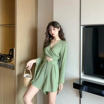 Casual pants Avocado Green S,M,L Summer 2021 shorts Wide leg pants High waist commute Thin money 25-29 years old 81% (inclusive) - 90% (inclusive) other Korean version Bandage Asymmetry
