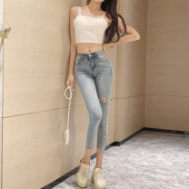 Jeans Autumn of 2019 wathet S,M,L,XL Ninth pants High waist Pencil pants routine Make old Other / other