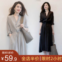 Women's large Summer 2021 Grey medium sleeve [cold wind women's dress with advanced design feeling / fat mm dress covering stomach in summer] black medium sleeve [Black French knee retro dress with Hepburn style / temperament slim dress] Dress singleton  Sweet easy thin Socket Short sleeve V-neck