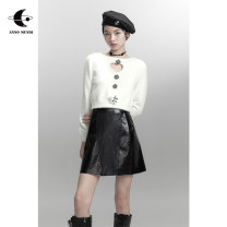 skirt Autumn 2020 XS,S,M,L Black, black pre-sale Short skirt Retro High waist A-line skirt Animal pattern Type A 18-24 years old More than 95% AnnoMundi PU