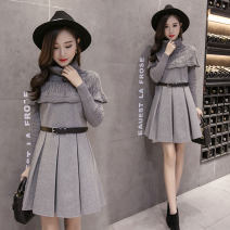 Dress Winter of 2018 Picture color S,M,L,XL Mid length dress singleton  Long sleeves commute Crew neck middle-waisted Solid color zipper A-line skirt routine Others 18-24 years old Type H Other / other thread 30% and below brocade polyester fiber