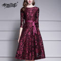 Dress Autumn of 2019 M L XL XXL XXXL 4XL Mid length dress singleton  three quarter sleeve commute Crew neck middle-waisted Solid color Socket Big swing routine 30-34 years old Type A Ink and wash Ol style Frenulum 51% (inclusive) - 70% (inclusive) polyester fiber Polyester 68% polyamide 32%