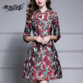 Dress Autumn of 2019 Decor M L XL XXL XXXL Mid length dress singleton  three quarter sleeve commute stand collar middle-waisted Decor zipper Big swing routine 30-34 years old Type A Ink and wash Ol style Button printing M1022A More than 95% polyester fiber Polyester 100% Pure e-commerce (online only)