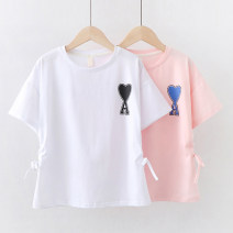 T-shirt White pink Children's flag 130cm 140cm 150cm 160cm 170cm female summer Short sleeve Crew neck Korean version No model nothing cotton Solid color Cotton 95% polyurethane elastic fiber (spandex) 5% TQ30305 Sweat absorption Summer 2021 Chinese Mainland Drawstring Guangdong Province Dongguan City