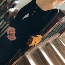 Dress Autumn 2020 black S,M,L,XL Mid length dress singleton  Long sleeves commute V-neck High waist Solid color Socket A-line skirt routine Others Type A court Pleats, buttons velvet