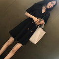 Dress Summer 2021 Black long sleeve, black short sleeve (short sleeve) S,M,L,XL,2XL Short skirt singleton  Long sleeves commute tailored collar High waist Solid color zipper A-line skirt routine Others Type A Retro Button, button High quality Roman cotton