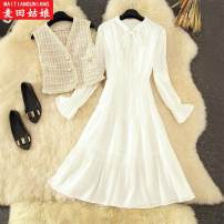 Dress Autumn 2020 White two-piece set, apricot two-piece set S,M,L longuette Two piece set Long sleeves commute V-neck High waist Solid color Socket A-line skirt routine Others 25-29 years old Maiden in the Rye Korean version Splicing Style 933 81% (inclusive) - 90% (inclusive) other polyester fiber