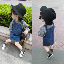 suit Other / other Graph color 7(90cm),9(100cm),11(110cm),13(120cm),15(130cm) female spring and autumn Korean version Long sleeve + skirt 2 pieces routine Socket nothing lattice Denim children Expression of love F4046 2 years old, 3 years old, 4 years old, 5 years old, 6 years old