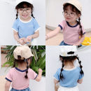T-shirt Blue, pink Other / other 7(90cm),9(100cm),11(110cm),13(120cm),15(130cm) female summer Short sleeve Korean version nothing other other 2 years old, 3 years old, 4 years old, 5 years old, 6 years old