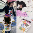 T-shirt Black, white Other / other 7(90cm),9(100cm),11(110cm),13(120cm),15(130cm) female spring and autumn Long sleeves Korean version nothing other Cartoon animation F7096 2 years old, 3 years old, 4 years old, 5 years old, 6 years old Chinese Mainland
