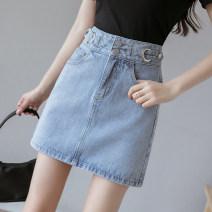 skirt Summer 2021 Short skirt Denim skirt commute 71% (inclusive) - 80% (inclusive) Solid color 401g / m ^ 2 (inclusive) - 500g / m ^ 2 (inclusive) Korean version High waist cotton 18-24 years old Type A cr// pocket Denim S,M,L,XL blue