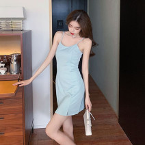 Dress Summer 2021 Sky blue, black S,M,L,XL Short skirt singleton  Sleeveless commute V-neck High waist Solid color zipper A-line skirt routine camisole 18-24 years old Type A Korean version zipper cr// 71% (inclusive) - 80% (inclusive)