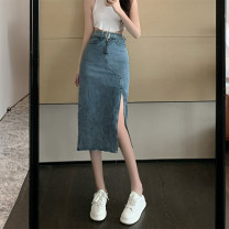 skirt Summer 2021 S,M,L Blue, black Mid length dress commute High waist skirt Solid color Type A 18-24 years old cr// 71% (inclusive) - 80% (inclusive) Denim Three dimensional decoration Korean version