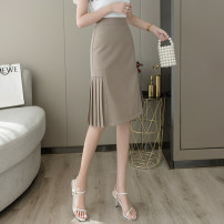 skirt Spring 2021 S,M,L,XL,2XL Black, Khaki Mid length dress commute High waist A-line skirt Solid color Type A 18-24 years old Cr 81% (inclusive) - 90% (inclusive) other zipper Korean version 501g / m ^ 2 (inclusive) - 600g / m ^ 2 (inclusive)