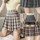 skirt Summer 2021 S,M,L,XL Grid one, grid two, grid three, grid four Short skirt commute High waist Pleated skirt lattice Type A 18-24 years old //.WX 71% (inclusive) - 80% (inclusive) other polyester fiber zipper Korean version
