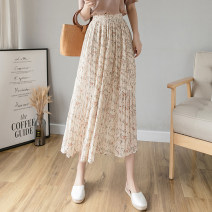 skirt Summer 2021 Average size Apricot, black Mid length dress commute High waist A-line skirt Decor Type A 18-24 years old cr// 71% (inclusive) - 80% (inclusive) Chiffon fold Korean version
