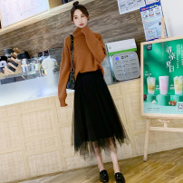 skirt Spring 2021 Average size Grey, black, apricot Mid length dress commute High waist Irregular Solid color Type A HA-882698 Other / other Pleat, fold, asymmetry, web Korean version