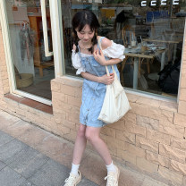 Dress Summer 2021 Light blue S. M, s (pre-sale 5-8 working days), m (pre-sale 5-8 working days) Mid length dress singleton  Sleeveless Sweet One word collar High waist lattice zipper other routine Others 18-24 years old Type H pocket Denim strap skirt More than 95% Denim cotton solar system