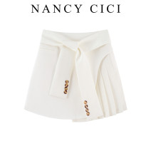 skirt Summer 2021 S,M,L,XL Black, white Short skirt commute High waist A-line skirt Solid color Type A 25-29 years old More than 95% brocade other Fold, lace up, button Korean version
