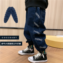 trousers Other / other neutral 90cm,100cm,110cm,120cm,130cm,140cm,150cm,160cm Stitching printed jeans in stock, stitching printed jeans pre-sale spring and autumn trousers motion There are models in the real shooting Casual pants Leather belt High waist cotton Don't open the crotch Other 100% Class B