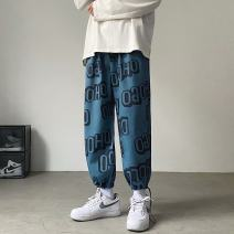 Casual pants Others Youth fashion Blue, black M,L,XL,2XL routine Ninth pants motion easy Micro bomb spring teenagers tide 2021 middle-waisted Straight cylinder Sports pants printing No iron treatment Alphanumeric Non brand