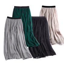 skirt Autumn of 2019 S, M Gray, black, dark green, light apricot longuette Versatile Natural waist A-line skirt Solid color Type A 25-29 years old More than 95% Crepe de Chine silk Fold, tuck 201g / m ^ 2 (including) - 250G / m ^ 2 (including)