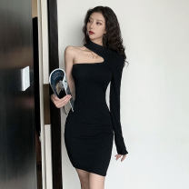 Dress Autumn 2020 black S,M,L Middle-skirt singleton  Long sleeves commute Crew neck High waist Solid color Socket One pace skirt routine Others Other / other Korean version Asymmetry 81% (inclusive) - 90% (inclusive) cotton