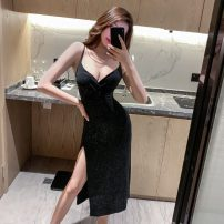 Dress Summer 2020 S,M,L longuette singleton  Sleeveless commute V-neck High waist Solid color Socket One pace skirt camisole 18-24 years old Other / other Korean version backless