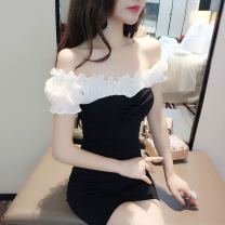 Dress Summer 2021 White with black, white with red, black with white ruffles, white with black long sleeves S,M,L,XL Short skirt singleton  commute One word collar middle-waisted other Socket One pace skirt other Others Other / other Korean version Panel, zipper
