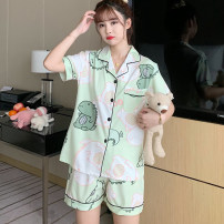 Pajamas / housewear set female Other / other M,L,XL,XXL cotton Short sleeve Cartoon pajamas summer Thin money Small lapel Cartoon animation shorts Front buckle youth 2 pieces rubber string 61% (inclusive) - 80% (inclusive) pure cotton printing