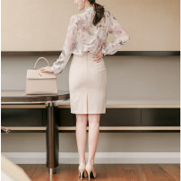 skirt Spring 2020 XS,S,M,L,XL,2XL Mid length dress commute High waist Suit skirt Solid color T-type 30-34 years old More than 95% brocade polyester fiber zipper Ol style 351g / m ^ 2 (including) - 400g / m ^ 2 (including)