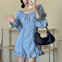 Dress Spring 2021 Blue, black S, M Middle-skirt singleton  Long sleeves commute square neck High waist Solid color Socket A-line skirt Lotus leaf sleeve Others Type A Korean version Frenulum 31% (inclusive) - 50% (inclusive) other cotton