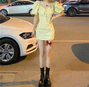 Dress Summer 2021 Picture color Average size Middle-skirt singleton  Short sleeve Sweet V-neck High waist Solid color Socket other Breast wrapping 18-24 years old Type H 51% (inclusive) - 70% (inclusive) cotton Mori