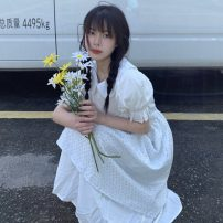 Dress Summer 2021 Two piece dress Average size longuette singleton  Short sleeve commute Crew neck High waist Socket other 18-24 years old Type A Korean version 51% (inclusive) - 70% (inclusive) cotton