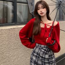 Wool knitwear Winter 2020 S. M, average size Long sleeves Two piece set other 31% (inclusive) - 50% (inclusive) Super short routine commute Self cultivation routine Solid color Socket Korean version 18-24 years old