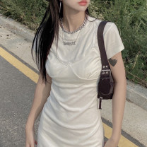 Dress Summer 2021 White, black S, M Short skirt Fake two pieces Long sleeves commute Crew neck High waist Solid color Socket other Breast wrapping 18-24 years old Type H Korean version 51% (inclusive) - 70% (inclusive) knitting cotton
